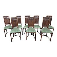 Attractive set of Eight (8) Gothic Dining Chairs, Walnut, 19th Century