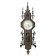 Fascinating Antique French Gothic Clock, Spaniards & Castle Turrets, 19th Century