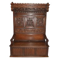 Magnificent Large Well Carved French Renaissance Bench, Beautiful 19th Century Model