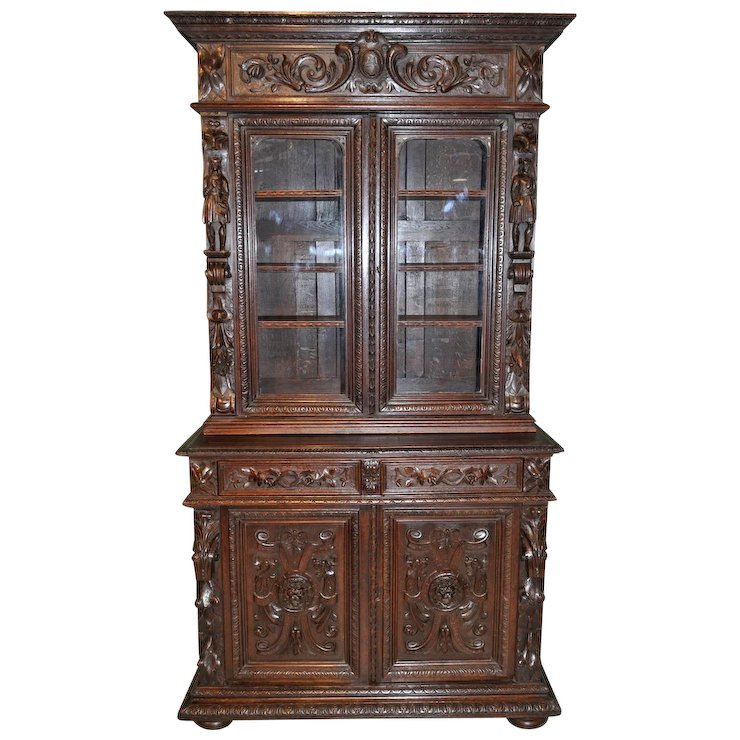 Antique French Renaissance Cabinet Wonderful Carved Detail Tall Statues