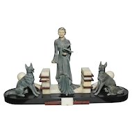 "Nice French Art Deco Statue of Woman and 2 Dogs, Marble Base 23"" wide x 13"" Tall, 1930s"