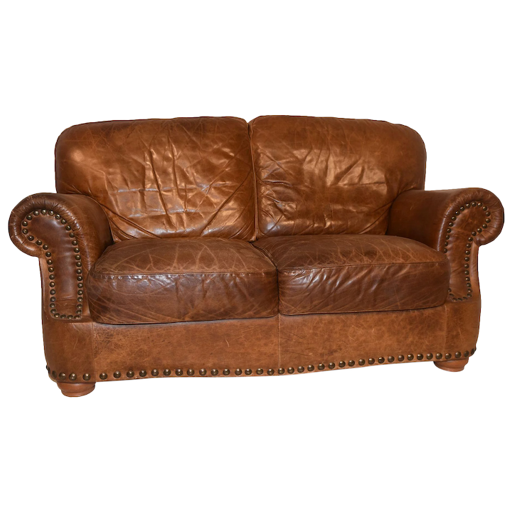 Rustic Brown Leather Loveseat, Used, 1970\'s
