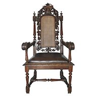 Antique European French Oak Hunt Arm Chair, Carved Floral & Grape Design,  19 Century
