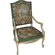 BEAUTIFUL Vintage French Needlepoint Arm Chair Lovely Flower Interesting Garden Story Art