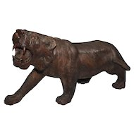 Saber Tooth Tiger Large Hand Carved Impressive Mahogany Model