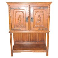 "Vintage French Gothic Oak Cabinet with Beautiful Carvings, 1920s Small Scale 52"" Tall"