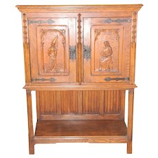 Smaller Sized French Gothic Cabinet, Oak, 1920's