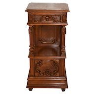 Excellent Quality, Antique Solid Walnut French Night Stand with Marble Top, Tall model at 38""