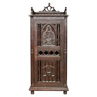 Fabulous Antique French Gothic Cabinet in Oak features Uniquely Carved Detail, 19th Centuery, Narrow