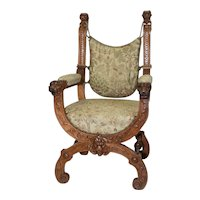 Attractive French Renaissance Arm Chair, Turn of Century, Oak