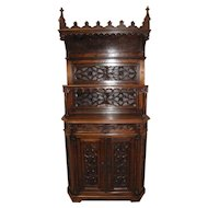 Intricately Carved Antique Gothic Cabinet, 19th Century