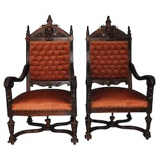 French Antique Renaissance Arm Chairs, Pair, Tufted Upholstery, Sturdy