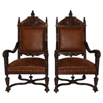 Stunning Antique French Renaissance Arm Chairs, Pair, New Upholstery