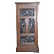 Antique Gothic Cabinet Narrow, Oak with Detailed Carvings