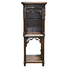 Attractive Narrow French Oak Gothic Pedestal or Cabinet with Elaborate Carvings