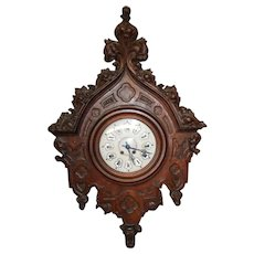 "French Gothic Wall Clock, Oak 19th Century, 40"" Tall"