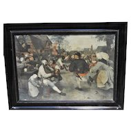 Beer Garden Antique Art European Party 19th Century Belgium