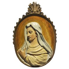 Antique Religious French Gothic Carved Wood Panel of the Blessed Mother Original Paint