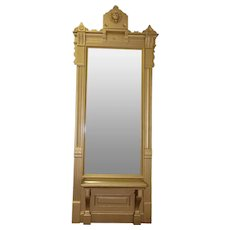 """Tall Antique Pier Mirror features Lion Emblem Atop Bench Seating 122"""" Tall"""