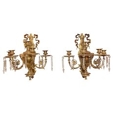 Antique Italian Wall Scones, Gilded Bronze, 19th Century