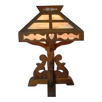 1920s Original Arts & Crafts Rustic Wood Mission Table Lamp with Caramel Glass