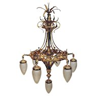 French Chandelier, Solid Brass with Seven Glass Globes, Griffin Details 1900s