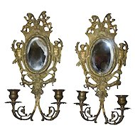 Adorable Vintage Brass Mirrored Wall Sconces (pair), French, 1930-40's