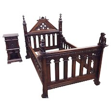 Rare One of a Kind French Gothic Bed, Oak, Circa 1900, Wonderful Quality