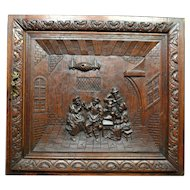 French Art Carved Tavern Panel Music Party Art