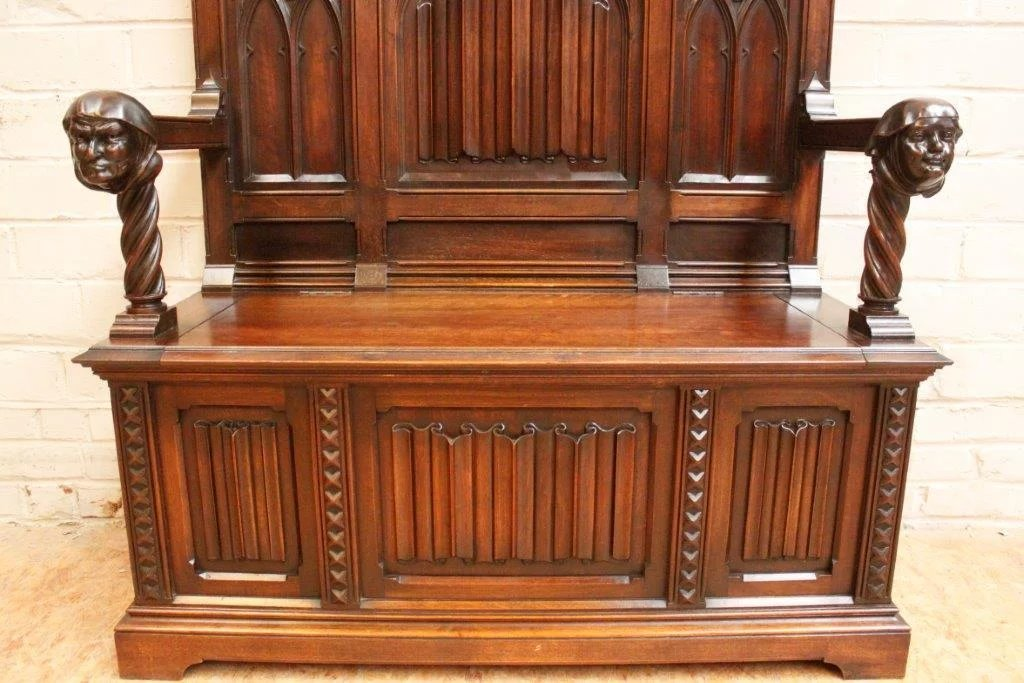 Antique Foyer Bench : French gothic bench foyer seating antique walnut carved bishops