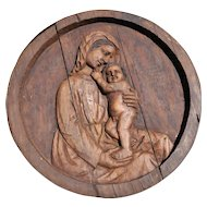 Religious Gothic Blessed Mother, Baby Christ, Hand Carved Panel 18th Century
