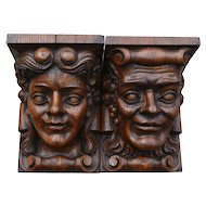 Italian Wall Consoles Carved Heads Very Large Solid Hand Carved Oak