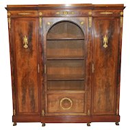 English Empire Bookcase, Storage Cabinet, Walnut