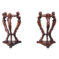 RARE Antique French Pedestals Carved Centaur Cherubs Matching Pair Walnut Circa 1900