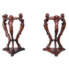 RARE Antique French Pedestals Carved Centaur Cherubs Matching Pair Walnut Circa 1900