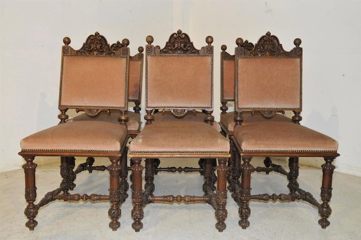 Antique French Dining Chairs Set Of Six Wonderful Carved North Wind Faces