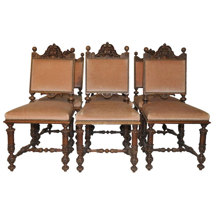 Antique French Dining Chairs Set of Six Wonderful Carved North Wind Faces - Antique French Dining Chairs Set Of Six Wonderful Carved North Wind