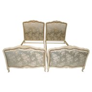Vintage Painted French Twin Beds Beautiful Floral Upholstered STUNNING Bedroom Furniture