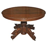 Antique French Hunt Table Four Hand Carved Animals 19th Century Large Dining Surface
