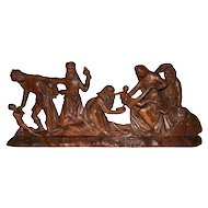 Religious French Antique Adoration of Christ 19th Century Hand Carved Walnut