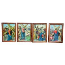 Vintage Religious French Stations of the Cross Complete Set of 14 Framed Colorful