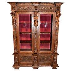 IMPRESSIVE Antique Italian Renaissance Silver Cabinet Bookcase Display Furniture