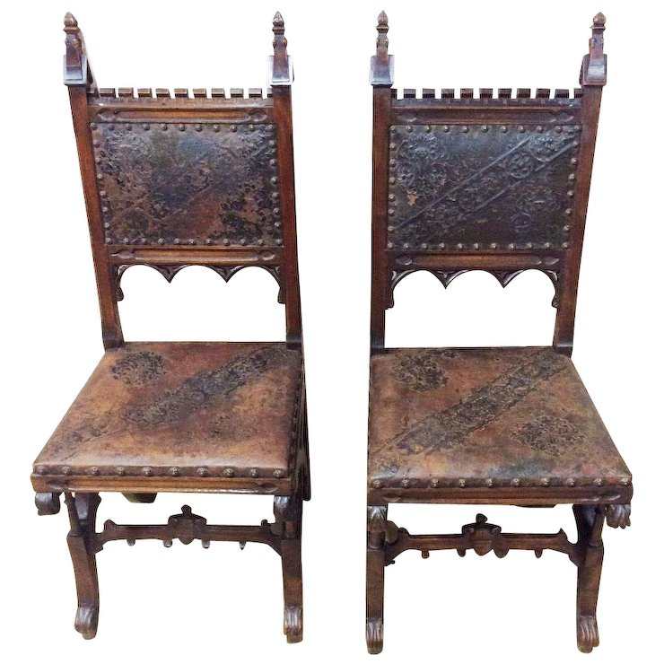 Antique French Gothic Chairs Pressed Leather 19th Century - Antique French Gothic Chairs Pressed Leather 19th Century : The Gatz