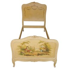 Vintage Painted French Twin Bed with Beautiful Original Art Floral, Country Side of France