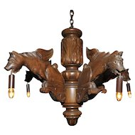 French Chandelier with Five Large Carved Griffins