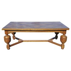HUGE Vintage French Tudor Oak Dining Room Table Over 12 Foot Long