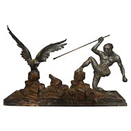 "Vintage French Art Deco Statue ""The Hunter and the Eagle"""