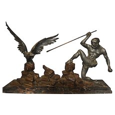 """Vintage French Art Deco Statue """"The Hunter and the Eagle"""""""