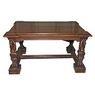 Antique Italian Renaissance Table, Desk IMPRESSIVE Man of the Mountain Statues