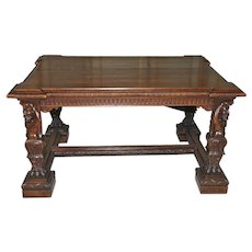 Antique Italian Renaissance Table, Desk IMPRESSIVE Man of the Mountain Statues